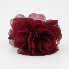 veryshine.com claw/banana/barrette Burgundy Pleat Petal Dahlia Flower Hair Jaw Claw