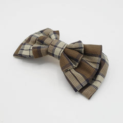 veryshine.com claw/banana/barrette Camel plaid check hair bow multi layered style bow french hair barrette
