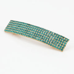 veryshine.com claw/banana/barrette Cobalt Green Diamante Cubic Rhinestone Decorative Rectangle Mini Hair Barrette Clips Gift Accessories