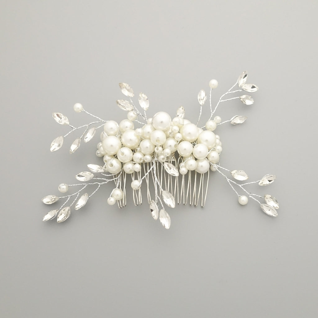 veryshine.com claw/banana/barrette Comb faux pearl acrylic ball glass stone decorated hair clip brooch dress hair comb