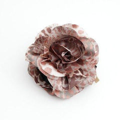 veryshine.com claw/banana/barrette Coral Brown Handmade Tiger Rose Fabric Twin Flower  Hair Jaw Claw Clip Accessories