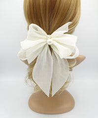 veryshine.com claw/banana/barrette Cream white pleated chiffon hair bow pearl embellished long tail french barrette women hair accessory