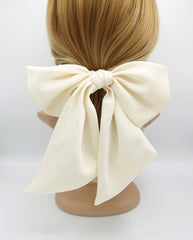 veryshine.com claw/banana/barrette Cream white satin giant hair bow french barrette wide tail oversized women hair accessory