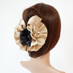 veryshine.com claw/banana/barrette Gold-Beige Handmade Grosgrain Flower Bow Two Tone Hair Jaw Claw Clip