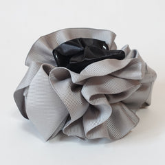 veryshine.com claw/banana/barrette Gray Handmade Grosgrain Flower Bow Two Tone Hair Jaw Claw Clip