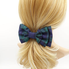veryshine.com claw/banana/barrette Green plaid check hair bow multi layered style bow french hair barrette