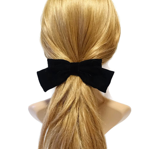 Handmade Black Silk Velvet Hair Bow Collection Fall Winter Claw Clip French Barrette Series