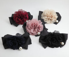 veryshine.com claw/banana/barrette Handmade Chiffon Pleated Flower Black Bow French Hair Barrettes