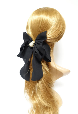Handmade Drape Long Tail Bow French Hair Barrette