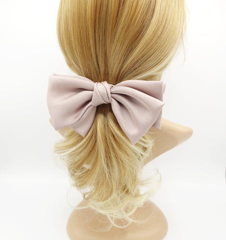 satin hair bow triple wing women hair accessory french barrette