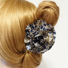 veryshine.com claw/banana/barrette Leopard Blue Handmade Tiger Rose Fabric Twin Flower  Hair Jaw Claw Clip Accessories