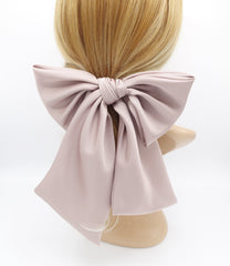 veryshine.com claw/banana/barrette Mauve pink satin giant hair bow french barrette wide tail oversized women hair accessory