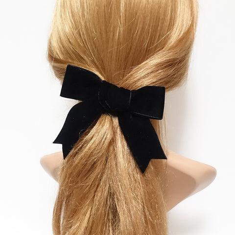 moderate black velvet tail bow french barrette 2 prong hair clip basic hair clip