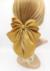 veryshine.com claw/banana/barrette Mustard multiple layered tail hair bow crinkled fabric pleated bow hair accessory for women