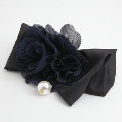 veryshine.com claw/banana/barrette navy Handmade Chiffon Pleated Flower Black Bow French Hair Barrettes