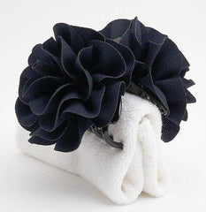 veryshine.com claw/banana/barrette Navy Handmade Dahlia Embossing  Fabric Flower  Fall/Winter Hair Jaw Claw Clip Accessories
