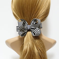 veryshine.com claw/banana/barrette Navy Handmade Stripe Butterfly Loop Bow French Barrettes Women Hair Accessories