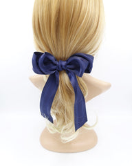 veryshine.com claw/banana/barrette Navy long tail layered hair bow corrugated stripe bow french hair barrette