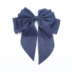 veryshine.com claw/banana/barrette Navy multiple layered tail hair bow crinkled fabric pleated bow hair accessory for women