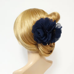 veryshine.com claw/banana/barrette Navy Pleat Petal Dahlia Flower Hair Jaw Claw