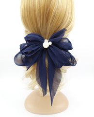 veryshine.com claw/banana/barrette Navy pleated chiffon hair bow pearl embellished long tail french barrette women hair accessory