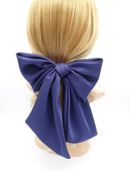 veryshine.com claw/banana/barrette Navy satin giant hair bow french barrette wide tail oversized women hair accessory