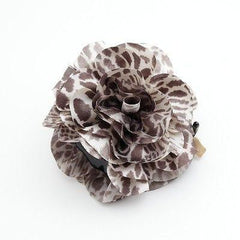 veryshine.com claw/banana/barrette Pale Brown Handmade Tiger Rose Fabric Twin Flower  Hair Jaw Claw Clip Accessories