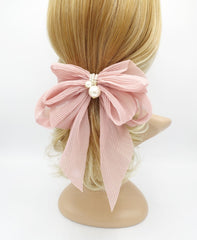 veryshine.com claw/banana/barrette Peach pink pleated chiffon hair bow pearl embellished long tail french barrette women hair accessory