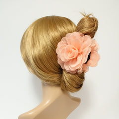veryshine.com claw/banana/barrette Peach Pleat Petal Dahlia Flower Hair Jaw Claw