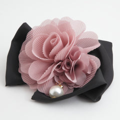 veryshine.com claw/banana/barrette pink Handmade Chiffon Pleated Flower Black Bow French Hair Barrettes