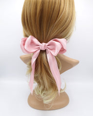 veryshine.com claw/banana/barrette Pink long tail layered hair bow corrugated stripe bow french hair barrette