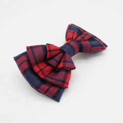 veryshine.com claw/banana/barrette plaid check hair bow multi layered style bow french hair barrette