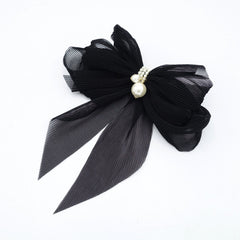 veryshine.com claw/banana/barrette pleated chiffon hair bow pearl embellished long tail french barrette women hair accessory