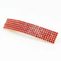 veryshine.com claw/banana/barrette Red Diamante Cubic Rhinestone Decorative Rectangle Mini Hair Barrette Clips Gift Accessories