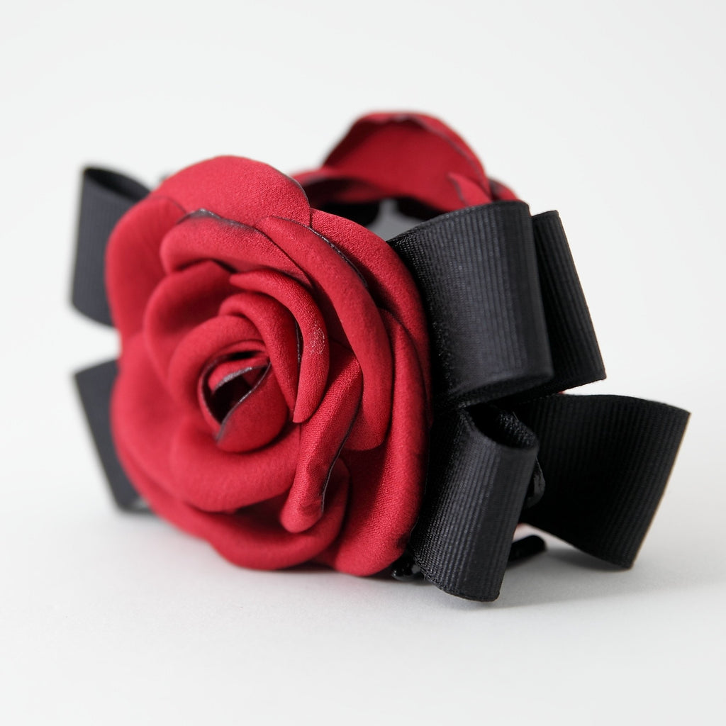 veryshine.com claw/banana/barrette Red handmade camellia Flower Bow Hair Jaw Clip
