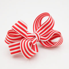 veryshine.com claw/banana/barrette Red Handmade Stripe Butterfly Loop Bow French Barrettes Women Hair Accessories