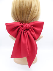 veryshine.com claw/banana/barrette Red satin giant hair bow french barrette wide tail oversized women hair accessory