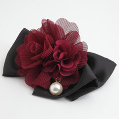 veryshine.com claw/banana/barrette red wine Handmade Chiffon Pleated Flower Black Bow French Hair Barrettes
