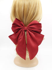 veryshine.com claw/banana/barrette Red wine multiple layered tail hair bow crinkled fabric pleated bow hair accessory for women