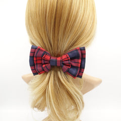 veryshine.com claw/banana/barrette Red wine plaid check hair bow multi layered style bow french hair barrette