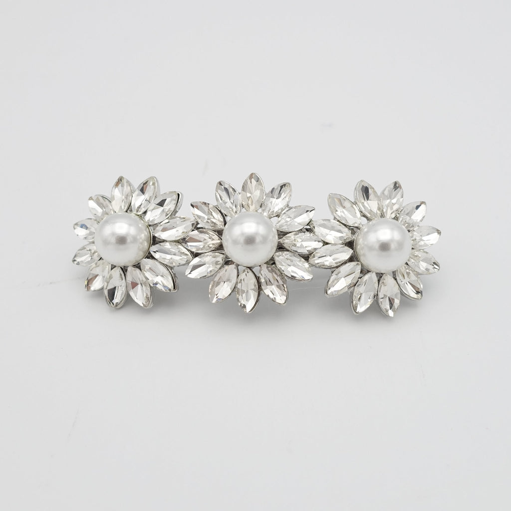 veryshine.com claw/banana/barrette Silver flower pearl rhinestone small hair barrette cute women hair accessory
