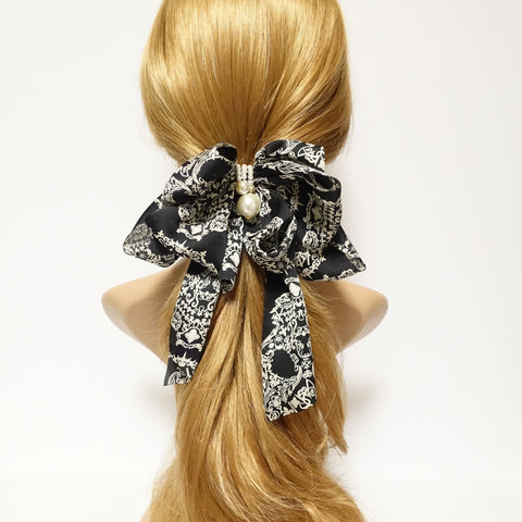 Scarf pattern print chiffon bow french hair barrette women hair accessory