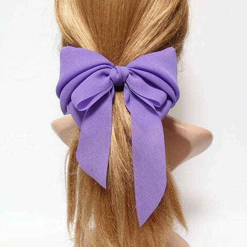 chiffon solid color hair bow long tail woman french hair barrette