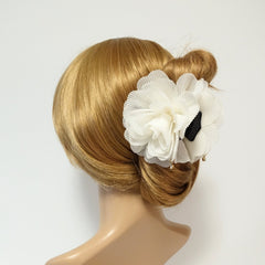 veryshine.com claw/banana/barrette White Ivory Pleat Petal Dahlia Flower Hair Jaw Claw