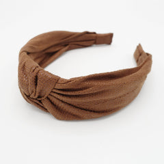 veryshine.com hairband/headband Beige brown suede fabric knotted headband Fall Winter hairband women hair accessory