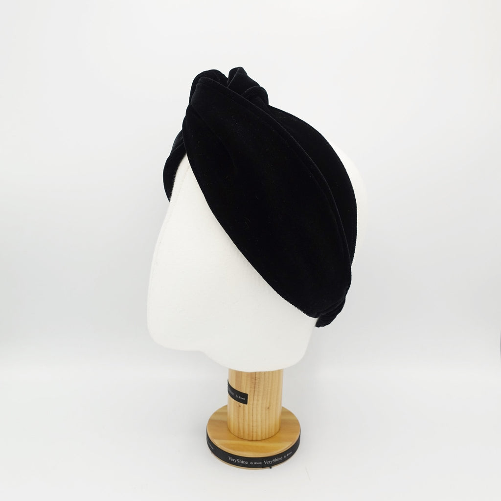 veryshine.com hairband/headband Black cross velvet turban headband double face velvet elastic hairband