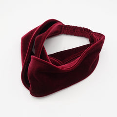 veryshine.com hairband/headband Red wine cross velvet turban headband double face velvet elastic hairband
