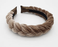 veryshine.com Headband Mocca beige Brooklyn velvet braided headband women hair accessory