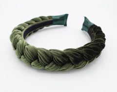 veryshine.com Headband Olive green Brooklyn velvet braided headband women hair accessory