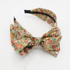 veryshine.com Headband Red green floral bow knot headband flower print hairband woman hair accessory